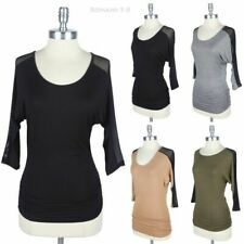 Partial Mesh Sleeve and Back with Shirred Side Top Round Neck Solid Easy Wear