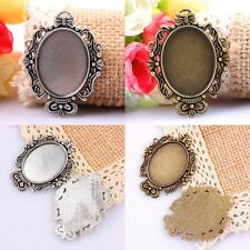 10Pcs Bronze/Tibetan Silver Oval Picture Photo Frame Charms Pendant Beads Crafts