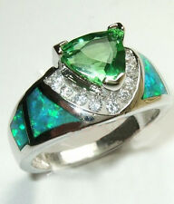 Jewelry Ring Size 6/7/8/9/10 Green Emerald/Opal Lady's 925 Silver Filled Wedding