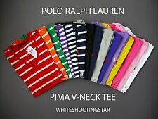 NWT POLO RALPH LAUREN WOMEN'S SHORT SLEEVE V-NECK JERSEY SPORT PIMA T SHIRT TOP