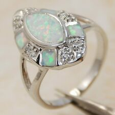 HOT! WHITE FIRE OPAL GEMSTON SILVER RING SIZE 6, 7, 7.75, 8 ,9 R6868