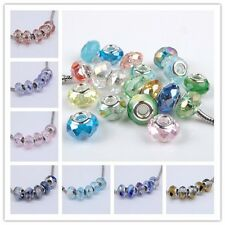 Muti-Color Style Murano Glass Crystal Big Hole European Beads Fitness Bracelet