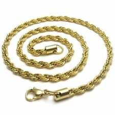 """2mm 16""""-40"""" 18K Gold plated Stainless Steel Rope Necklace Chain Sb39 USA Seller"""