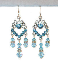 "AQUAMARINE Blue Crystal Chandelier Earrings Silver Prom 2"" Swarovski Elements"