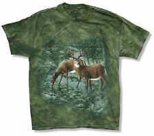 """THE MOUNTAIN """"DEER"""" GREEN TIE DYE T-SHIRT NEW OFFICIAL ADULT ANIMAL CAMO"""