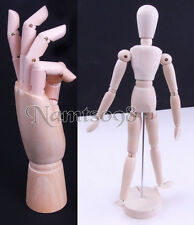 "12"" Wooden Human Body/Right hand Mannequin manikin Sketch Model Articulate Art"