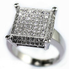 Sterling Silver Cubic Zirconia Princess Cluster Cut Bridal Engagement Band Ring