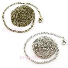 4Strands Chains Necklace With Clasp 80cm Dull Silver Or Bronze R5101