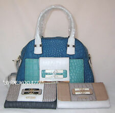 GUESS Maluca Trapezoid Bag Purse Handbag Satchel Sac Wallet Set Croco Genuine