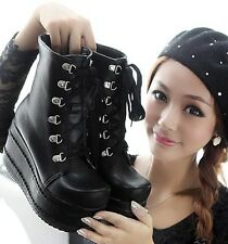 Womens Punk Rock Lolita Lace Up High Platform Ankle Boots Shoes Plus Size C115
