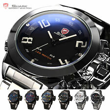 Shark Digital LED Date Mens Dual Time Sport Stainless Steel Quartz Army Watch