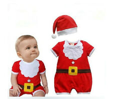 2pcs Infant Baby Girl Santa Christmas Hat+ Romper Jumpsuit Top Clothes Outfit
