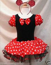 Girls Disney Minnie Mouse Kids Costume Dress Ballet Tutu party +headband