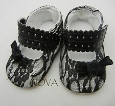 Black lace princess bow shoes toddler shoes baby girl shoes US size2,3,4