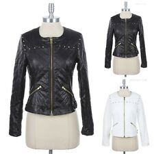 PU Faux Leather Quilt Stitch Studded Detail Motorcycle Rider Jacket Sexy S M L