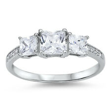 3 STONE PRINCESS CUT CZ ENGAGEMENT  .925 Sterling Silver Ring SIZES 5-10