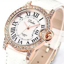 New Fashion Crystal Roman Dial Rose Gold Bracelet Quartz Women Lady Wrist Watch
