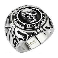 Stainless Steel Fancy Skull Shield Wide Men's Ring Size 9-15