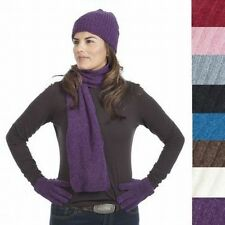 3pc Chenille Hat, Gloves & Scarf Set Ladies Soft Warm Fine Knit Choose Color