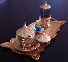 Turkish Coffee Tea Water Set, Brass Copper  Porcelain Glass,Ottoman Palace Tulip