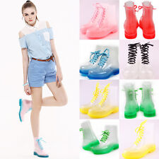 Fashion Transparent Crystal ms Candy Colors Flat For Rain Boots Martin Boots New