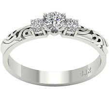Prong Set 0.50 Ctw White Gold Round Diamond Jewelry 3 Stone Engagement Ring Band
