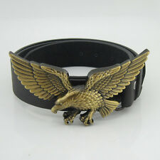 Western Vintage New 3D Bronze Eagle Mens Metal Belt Buckle Black Leather Gift