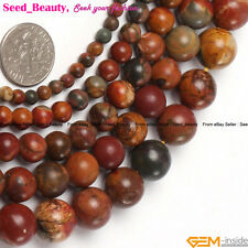 "Natural Picasso Jasper Gemstone Jewelry Making Beads Str 15"" Round Smooth Multi"