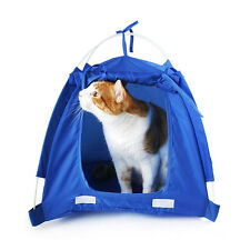 Small Pet Kitten Cat Puppy Dog Mini Nylon Camp Tent Bed Play House Red Blue