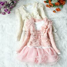 Girls Outfit Jacket Tutu Pearl Flower Top Dress Toddler Party Pageant SZ 3T - 6