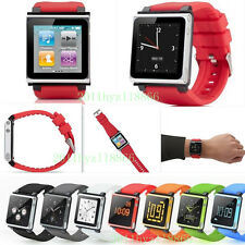 New 9 Color PC Frame+Silicone Wrist Strap Watch Band Case for iPod Nano 6 6th 6G
