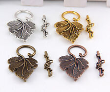Free Ship 20Sets Silver、Gold 、Bronze、Copper Tone Leaf Connector Toggle Clasps