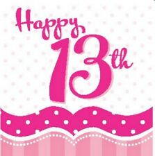 PERFECTLY PINK 13TH BIRTHDAY PARTY NAPKINS BANNER TABLE COVER BALLOONS CANDLES