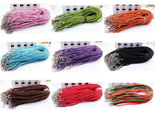 Free 20/50Pc Leather Braid Rope Hemp Cord Lobster Clasp Necklace Bracelet 46cm