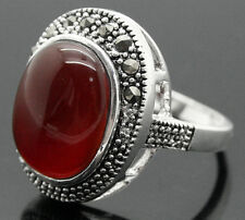 MARCASITE RED OVAL JADE 925 STERLING SILVER RING Size 7/8/9/10