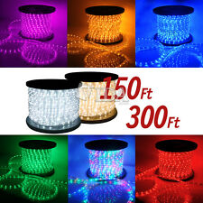 300' 150' 2 Wire 110V  LED Rope Light RGB Yellow Red Green Blue Cool Warm White