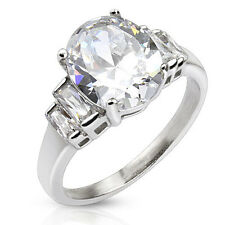 316L Stainless Steel Huge 4.9 Carat Oval Cut CZ Engagement Ring Size 5-9