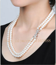 "AAA 8-9mm 2 Rows White Akoya cultured pearl Necklace 16""17"",18""19"",20""21"",25""26"""