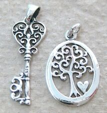 925 STERLING SILVER FILIGREE KEY PENDANT OVAL TREE OF LIFE &HEART CHARM