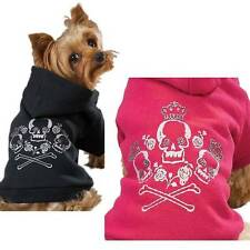 Raspberry Soft Fleece Zack & Zoey Crowned Crossbone Skull Dog Hoodie Sweatshirt