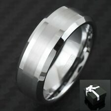 Tungsten Men's Beveled Brushed Stripe Band Ring Size 8-15