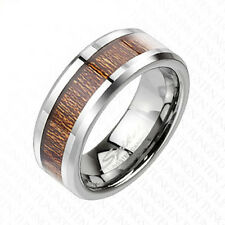 Tungsten Men's Wood Inlaid Comfort Fit Band Ring Size 9-13