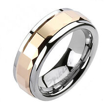 Tungsten Men's Multi-Square Faceted Rose Gold Spinning Band Ring Sz 9-13