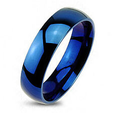 Tungsten Blue Plain 6mm Glossy Finished Wedding Band Ring Size 5-13