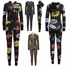 LADIES MOUSTACHE ONESIE ALL IN ONE SEXY ZIP UP HOODED JUMPSUIT PLAYSUIT U13