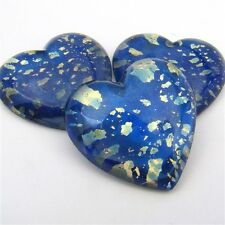 3 vintage Japanese flatback blue gold glass heart cabochons foil flashy 25mm