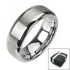 Tungsten Wedding Band Ring w/ Brushed Finish Size 5-15 Half Sizes avail.