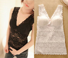 Sex V-Neck Perspective Lace Vest Lady Stretch Paded Bra Sleeveless Top