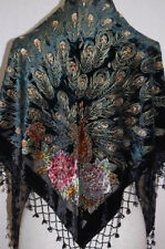 100% silk Chinese Women's Embroider Shawl/Scarf peafowl Black blue red