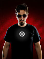 Tony Stark The Avengers Iron Man T-Shirt Automatic Light Up(Not Sound Activated)